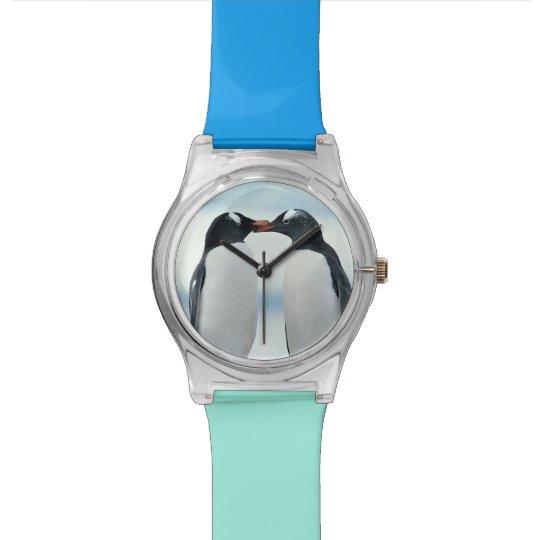 Two Penguins touching beaks Wrist Watch