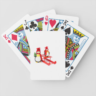Two penguins with sleigh and christmas tree bicycle playing cards
