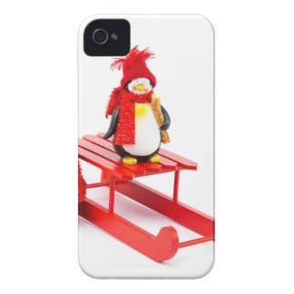 Two penguins with sleigh and christmas tree iPhone 4 Case-Mate cases