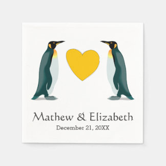 Two Penguins | Yellow Heart | Wedding Disposable Napkins
