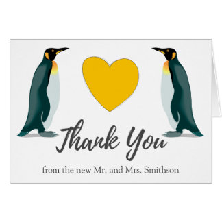 Two Penguins | Yellow Heart | Wedding Thank You Card