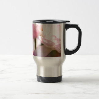 Two Peony Flowering Tulips with Petals Touching Travel Mug