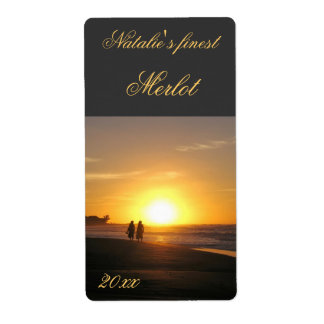 two people at sunset walking wine label shipping label