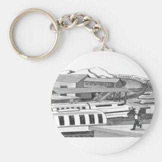 Two People trying to Catch Trains Keychain
