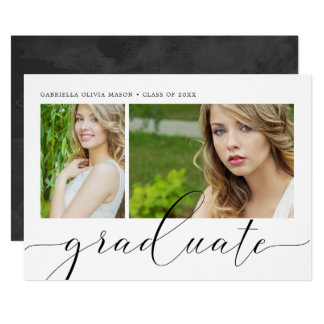 Two Photo Collage Graduation Party Card