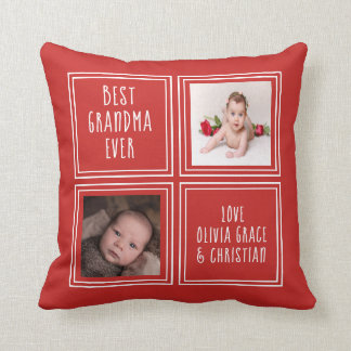 Two Photo Personalized One of a Kind Template Throw Pillow