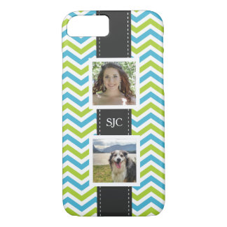 Two Photos and Initials Blue Lime Chevron iPhone 7 Case