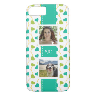 Two Photos and Initials Blue Lime Hearts iPhone 7 Case
