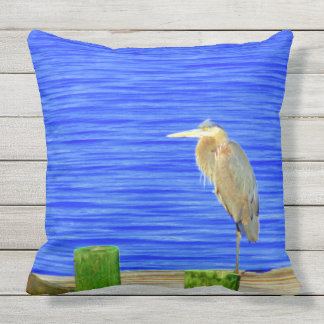 Two Pictures of a Bird on a Dock outdoor pillow