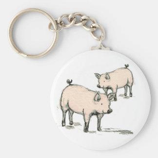 two piggies basic round button keychain