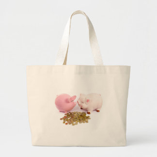 Two piggy banks with euro coins on white large tote bag