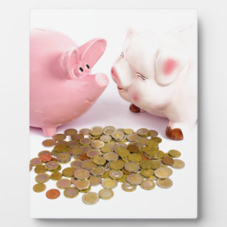 Two piggy banks with euro coins on white plaque