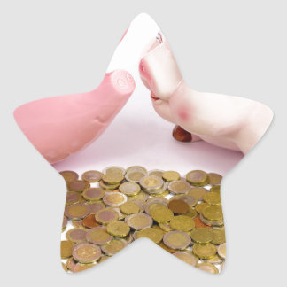 Two piggy banks with euro coins on white star sticker