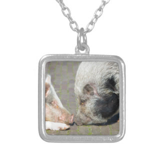 Two pigs making contact silver plated necklace