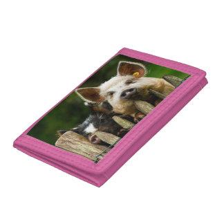 Two pigs - pig farm - pork farms trifold wallets