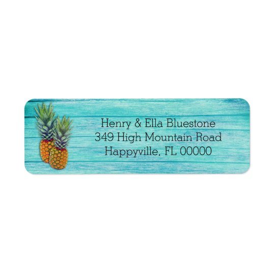 Two Pineapples Tropical Beach Wood Address Labels