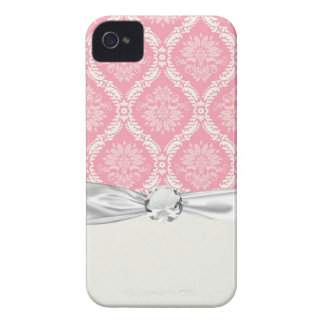 two pink and cream elegant damask Case-Mate iPhone 4 cases