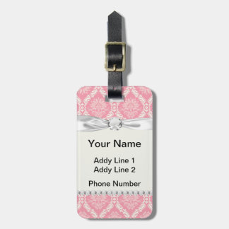 two pink and cream elegant damask luggage tag