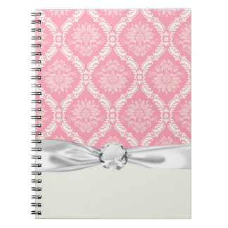 two pink and cream elegant damask spiral note book
