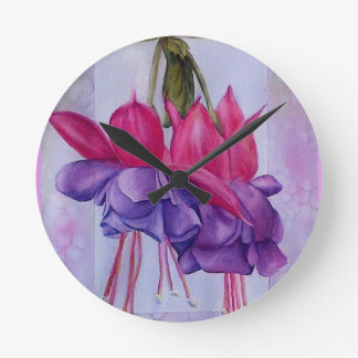TWO PINK AND PURPLE FUCHSIA FLOWERS ROUND CLOCK