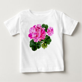 Two Pink and White Striped Geraniums Baby T-Shirt