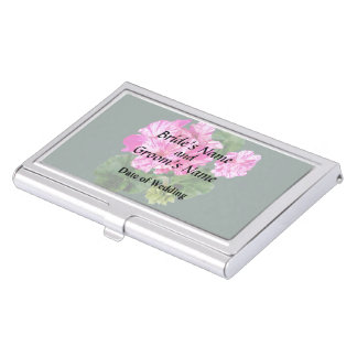 Two Pink and White Striped Geraniums Wedding Business Card Holders