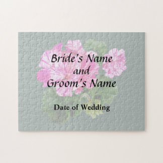 Two Pink and White Striped Geraniums Wedding Jigsaw Puzzle