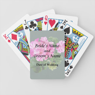 Two Pink and White Striped Geraniums Wedding Poker Deck