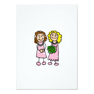 """Two Pink Brides 5"""" X 7"""" Invitation Card"""