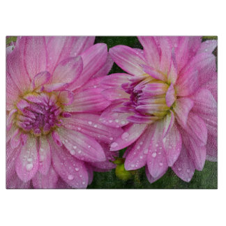 Two pink dahlia flowers boards