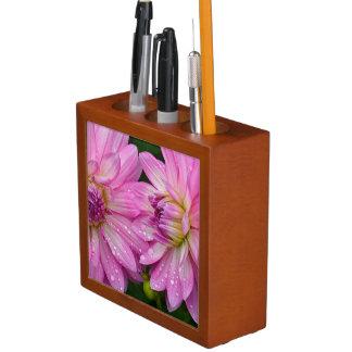 Two pink dahlia flowers desk organizer
