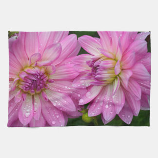 Two pink dahlia flowers kitchen towel