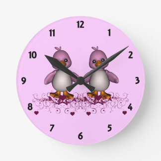 Two Pink Ducks Childrens Learning Round Clock