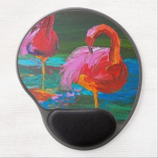 Two Pink Flamingos on Green Lake Gel Mouse Pad