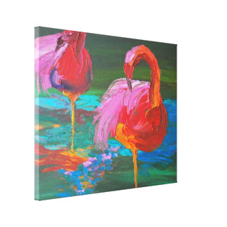Two Pink Flamingos on Green Lake (K.Turnbull Art) Canvas Print