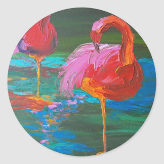 Two Pink Flamingos on Green Lake (K.Turnbull Art) Classic Round Sticker