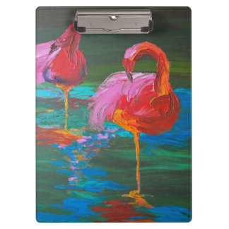 Two Pink Flamingos on Green Lake (K.Turnbull Art) Clipboard