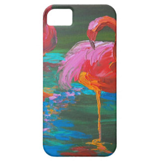 Two Pink Flamingos on Green Lake (K.Turnbull Art) iPhone 5 Cover