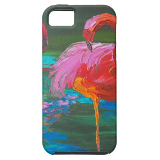 Two Pink Flamingos on Green Lake (K.Turnbull Art) iPhone 5 Covers