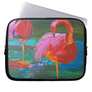 Two Pink Flamingos on Green Lake (K.Turnbull Art) Laptop Sleeve
