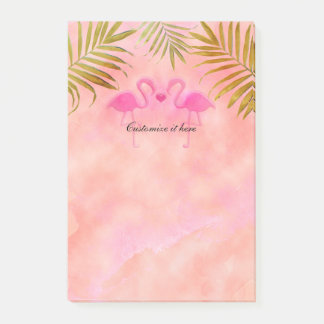 Two Pink Flamingos Watercolor Tropical Post it Post-it Notes