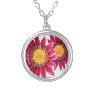 two pink flowers silver plated necklace