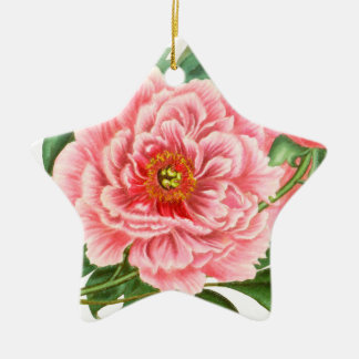 Two Pink Peonies Ceramic Ornament