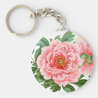 Two Pink Peonies Keychain