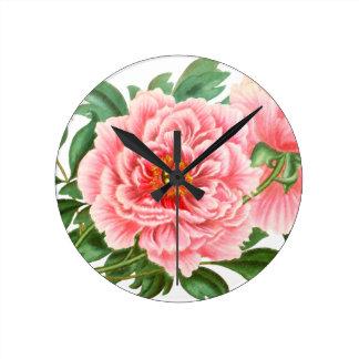 Two Pink Peonies Round Clock