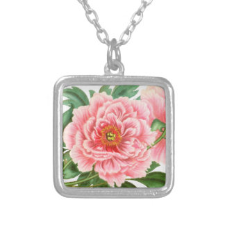 Two Pink Peonies Silver Plated Necklace