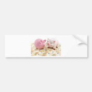Two pink piggy banks on spread euro notes bumper sticker