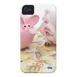 Two pink piggy banks on spread euro notes iPhone 4 Case-Mate cases