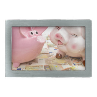 Two pink piggy banks on spread euro notes rectangular belt buckles