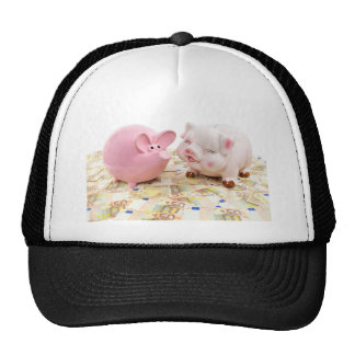 Two pink piggy banks on spread euro notes trucker hat
